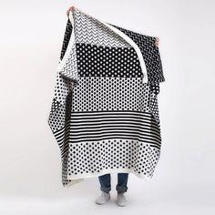 Knitted Wool Blanket Black & White by MinkaInhouse