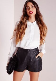 Faux Leather Tailored Shorts Black