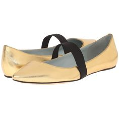Marc Jacobs Halsey Pointy Ballerina Women's Ballet Shoes ($325) ❤ liked on Polyvore featuring shoes, flats, gold, ballet flats, pointy-toe flats, pointed-toe flats, metallic flats and leather flats
