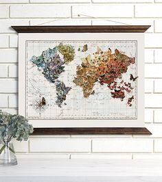 Vintage Map Wall Art Butterfly Migration Wood Bound by wendygold