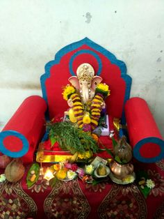 Eco Friendly Ganpati Decoration, Ganpati Decoration At Home, Ganesha, Decorations, God, Dios, Dekoration, Ganesh, Allah