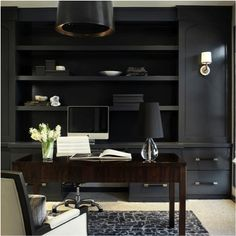 Dark cabinets and light fixture