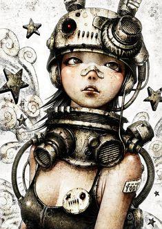 Cyberpunk by Shichigoro Shingo Tatoo Steampunk, Art Steampunk, Steampunk Fashion, Steampunk Drawing, Steampunk Necklace, Steampunk Clothing, Gothic Fashion, Steampunk Illustration, Art Et Illustration