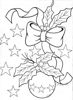 Christmas ornament with bow and holly Could also be used for paper piercing