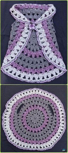 DIY Crochet Circle Block Vest Free Pattern -Crochet Little Girl Circle Vest Sweater Coat Free Patterns. - Crochet and Knit Little+Girl+Crochet+Patterns+Free Crochet Circle Vest, Crochet Circles, Crochet Motifs, Crochet Circle Pattern, Crochet Baby Dress Free Pattern, Gilet Crochet, Crochet Jacket, Crochet Shawl, Crochet Beanie