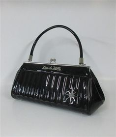 Lux De Ville Stardust Kiss Lock Black Shiny Purse