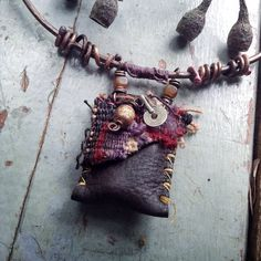 Leather medicine bag and hammered copper collar tribal necklace by quisnam on Etsy