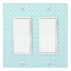 Blue Quatrefoil Light Switch Cover