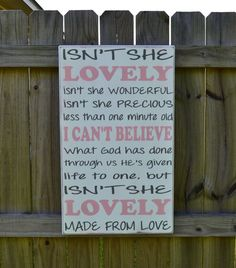 Isn't She Lovely Custom wood Sign, Stevie wonder lyrics-song lyrics sign- Isn't she lovely- nursery art print- nursery lyrics sign