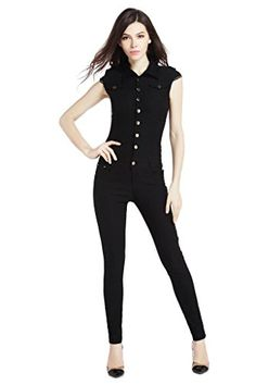 "Women's Sexy Stretchy Jumpsuit Skinny Cute Outfit Large. High elastic. Material: cotton spandex. Model size: weight 50kg/110Lbs; height 174cm/5'9""; BWH 86-60-89cm/33.8-23.6-35inches. Wear size S. S: Shoulder 12.5"", Bust 28.7"", Waist 25.9"", Hip 32.6"", Thigh 17.7"", Leg-opening 9.8"", Top-length 17.7"", Full-length 55.5"". M: Shoulder 12.9"", Bust 29.9"", Waist 27.5"", Hip 33.8"", Thigh 18.8"", Leg-opening 10.2"", Top-length 18.1"", Full-length 56.6"". L: Shoulder 13.7"", Bust 31.4"", Waist 29.1"", Hip 37""…"