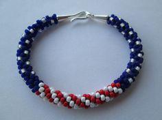Beaded Bracelet Red White and Blue Bracelet by SadiesCottage, $30.00
