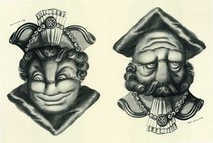 rex whistler illustrations | Rex Whistler Mayor And Judge - A optical illusion joge e two way face ...