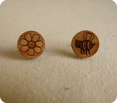 Bee and flower stud earrings - lasercut wooden studs