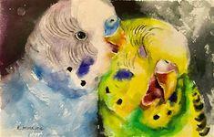 Daily Paintworks - - Original Fine Art for Sale - © Katya Minkina Watercolor Portrait Painting, Watercolor Bird, Budgies, Parrots, Watercolor Projects, Rainbow Art, Bird Illustration, Equine Art, Bird Art