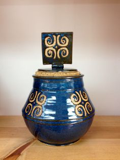 Stoneware pottery cork storage jar