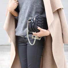 Layering your groutfit with a camel trench coat is a contemporary contrast.