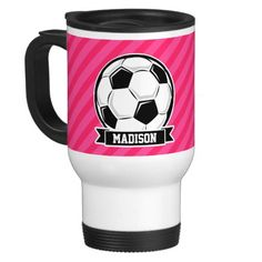 Soccer Ball on Neon Pink Stripes Mug