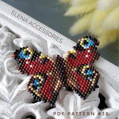 brooch necklace PDF pattern for miyuki delika toho brick stitch peyote seed beads beading pattern Bead Crochet Patterns, Bead Embroidery Patterns, Beading Patterns Free, Seed Bead Patterns, Beading Tutorials, Weaving Patterns, Color Patterns, Art Patterns, Mosaic Patterns