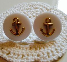 Large button earrings nautical anchor rockabilly stud earring posts on Etsy, £4.00