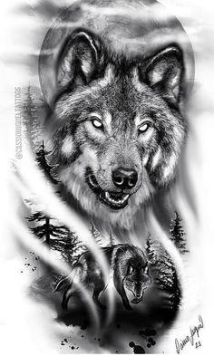 Wolf Tattoos Men, Boy Tattoos, Animal Tattoos, Black Tattoos, Body Art Tattoos, Tattoos For Guys, Tatoos, Geisha Tattoo Design, Wolf Tattoo Design