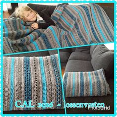 Beautiful XL blanket with stripes, original Stylecraft yarn, in basic grey with color accents petrol and turquoise. A real eyecatcher in your home. with the original quality yarn Stylecraft special DK, a lovely and soft 100% acrylic yarn, therefore also suitable for people with a wool allergy. Measurements 150 cm x 225 cm.  machinewas 40c possible, iron cool with max 110C. Dry flat. pattern design: van Joke ter Veldhuis