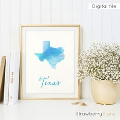 Texas map printable Housewarming gift Texas by StrawberrySigns