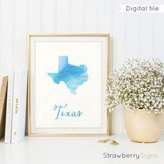 Texas map printable Housewarming gift Texas by StrawberrySigns