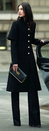 ++++ winter street style - black cape coat military style