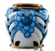 CAMILLE FAURE (1874-1956)~A small enamel on copper vase with geometric patterns and cabochon circa 1925
