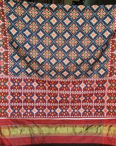 MADHVI HANDICRAFTS PATAN DOUBLE IKAT PATOLA WITH CHANDA DESIGN N BLUE COLOUR WITH MAROON BORDER FOR INQUIRIES CALL OR WHATSAPP +91 9638091196