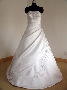 Sexy Strapless Beaded and Pleated A-line Chapel Train Satin Wedding Dress WD1022 www.tidedresses.co.uk $227.0000