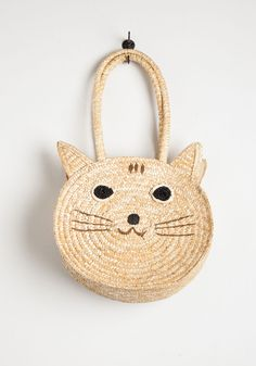 Mew From the Top Tote. The cats out of the bag - youve got great style, exemplified by this statement-making straw tote! #tan #modcloth
