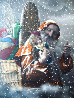 Antique Christmas postcard - Santa Claus, Father Christmas, snowflakes doll…