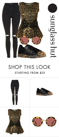 """""""Shades of You: Sunglass Hut Contest Entry"""" by amr1020 ❤ liked on Polyvore featuring Topshop, adidas Originals, WearAll, Miu Miu and shadesofyou #miumiusunglasses"""