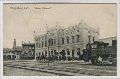 KÖNIGSBERG,Ostpr. - PILLAUER Bahnhof mit Lokomotive