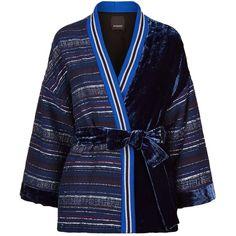 Pinko Kimono Lurex Jacket (€355) ❤ liked on Polyvore featuring outerwear, jackets, blue jackets, pinko jacket, wrap jacket, blue striped jacket and stripe jacket