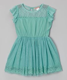 Another great find on #zulily! Green Lace Angel-Sleeve Dress - Toddler & Girls by Paulinie #zulilyfinds