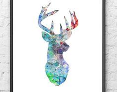 Giclee Kunstdruck Aquarellzeichnung Blauer Hirsch von Thenobleowl