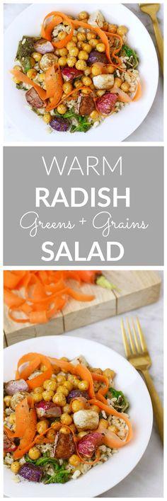 Warm Radish Greens + Grains Bowl - colorful roasted radishes, sautéed radish greens, brown rice, spiced chickpeas + carrot ribbons #fall #fallsalad #grainbowl
