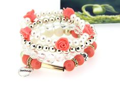 Ladies Flower Beads Alloy and Imitation Pearl Multilayer Jacinth Bracelets