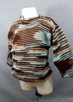 Baby Kimono Sweater in Brown and Teal 18 months by stitch1stitch2, $23.20 USD