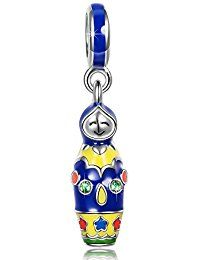 Ninaqueen 925 Sterling Silver Enamel Matryoshka Dangle Charms Fit Pandora Bracelet  ASIN#  B00X146PQK MODEL#  CSG05346BW