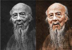 Qi Baishi (1956), by Zheng Jingkang - colorized - colorization, Qi Baishi,齊白石,齊璜,渭清,彩色,彩色,
