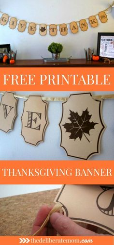 Want some FREE fall decor? Check out this tutorial to create a free printable Thanksgiving banner! Quick, simple, and beautiful DIY decor!