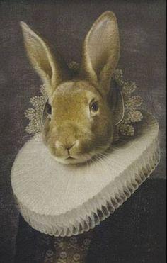 Elizabethan anthropomorphism bunny portrait