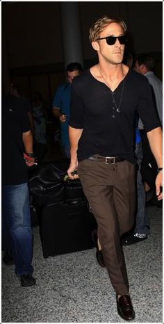 Dark brown pants go well with dark and light shirts.