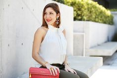 Blame-it-on-Mei-Miami-Fashion-Blogger-2016-Spring-Outfit-Olive-Green-Trouser-Pants-Bow-Neck-Blouse-Coral-Miu-Miu-Clutch-Metalic-Gold-Louboutin-Pumps-YSL-Arty-Ring-Spring-Outfit-Inspiration-Outfit-Idea-Date-Night-Look
