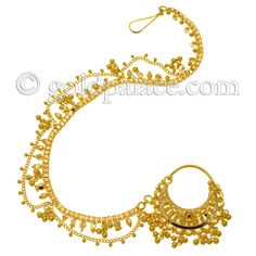 gold nath (nose ring. the chain goes back into the hair)