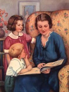 postal vintage (autor desconocido) Reading Art, Woman Reading, Kids Reading, I Love Books, Good Books, Books To Read, Bible Stories, Stories For Kids, Book Page Art