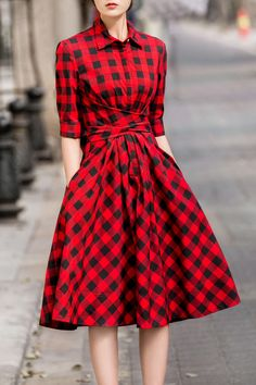 18cdy Red Retro Style Tie Checked Dress